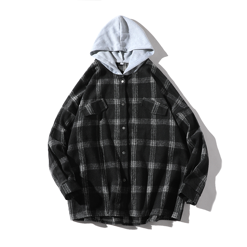 2019 Plaid Shirts Men Long Sleeve Vintage Hooded Cotton Shirts High Quality Streetwear Korean Casual Autumn Winter Jacket Shirts