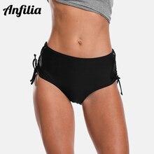 Anfilia Ladies Bikini Bottom Women Swim Trunks Solid Color Swimwear Briefs Swimsuit Side Bandage Swimming