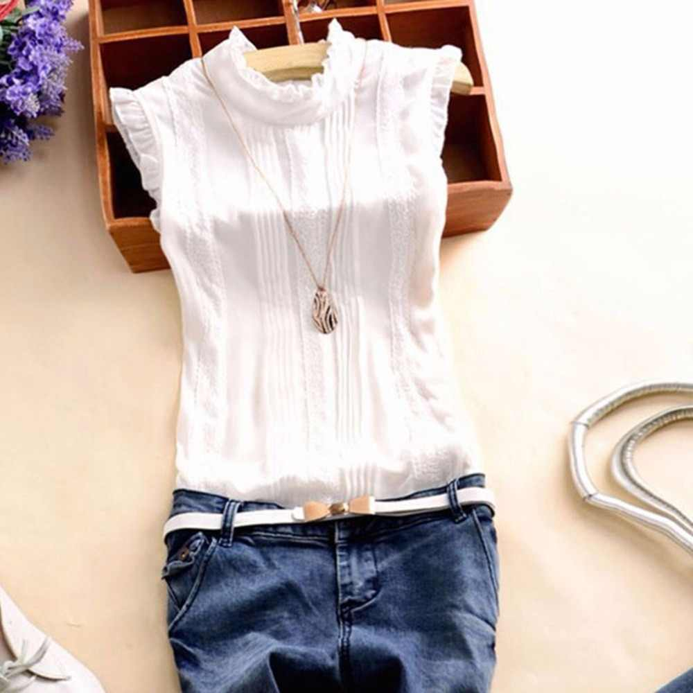 ed8ba579d14e 2018 Summer Style Vogue Women Ruffle Sleeve Neck Slim Fitted Shirts Casual  Office Lady White Blouse