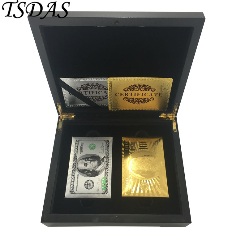 2PCS Certified Pure Gold Foil Poker Cards (Golden & Silver Colored) With Wooden Box Special Business Gift