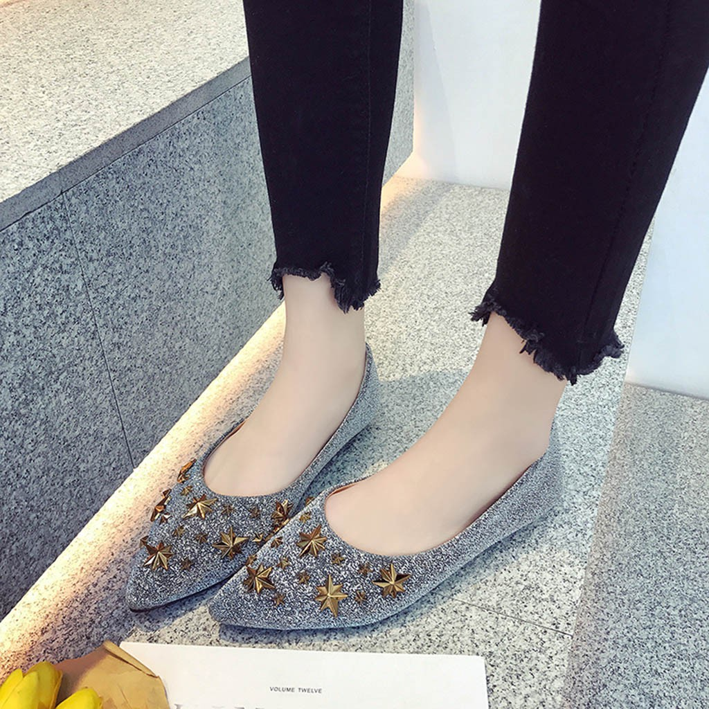 MUQGEW Fashion Star Metal Bling shoes for WomenLadies Casual pointed toe Shallow woman Single Shoes winter comfortable 2019