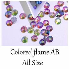 AAAAA  Colored flame AB Glass Hotfix Rhinestones Hot Fix Iron On Clear Crystals Stones Flatback Strass For Clothes glitter mixed sizes white crystal ab hotfix strass rhinestones round flatback imitation iron on glass crystals and stones diy