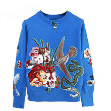 7e9fc16178af41 Luxury Blue Beading Bird Embroidery Vintage Ladies Knitted Jumper Clothing  2018 Winter Christmas Runway Women Pullovers Sweaters