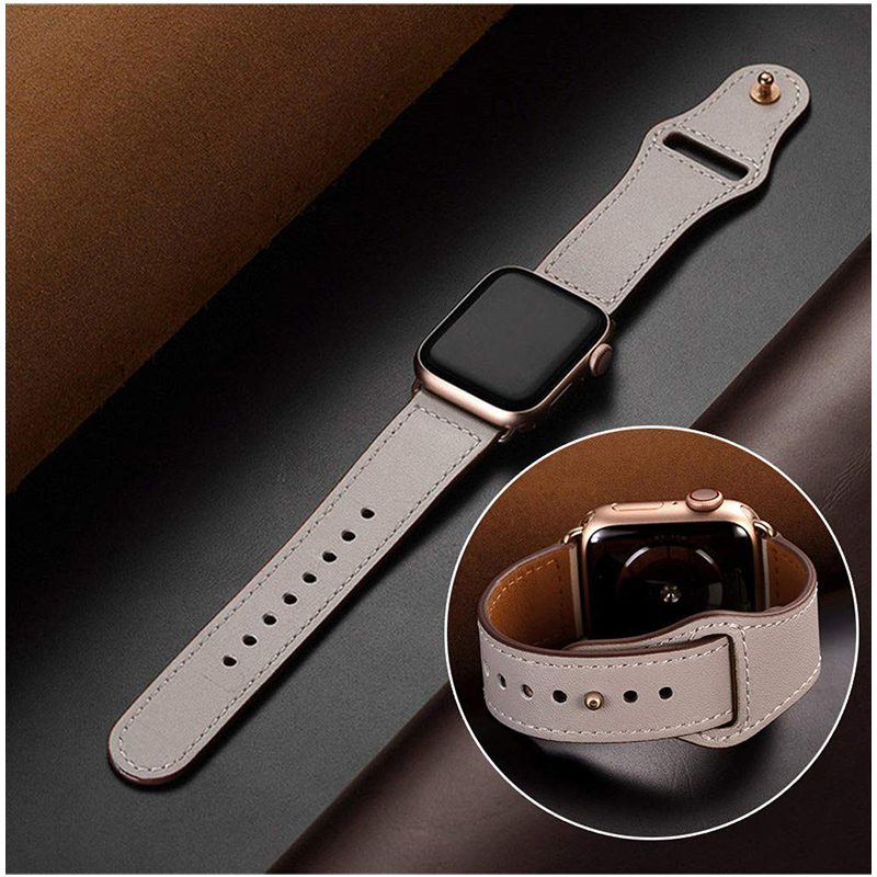 Genuine Leather Loop Strap for Apple Watch 4 40mm 44mm 38mm 42mm High Quality Men Women Watchband Bracelet Band for iWatch 1 2 3-in Watchbands from Watches