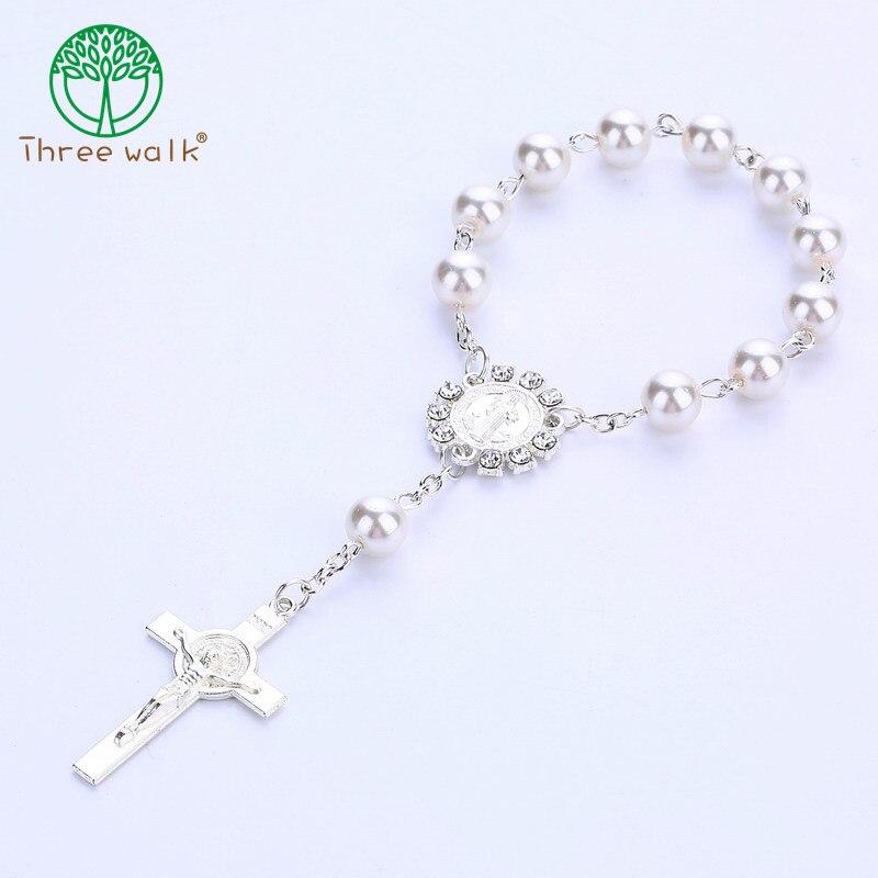 Catholic Rosary Bracelet Pendants Communion Gift Imitation-Pearl-Beads Crucifix Holy