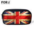 FORUDESIGNS Retro Kids Boys Girls Pencil Case Fashion Women Cosmetic Bag UK USA Flag Print Child School Supplies Pen Bag Box Kid