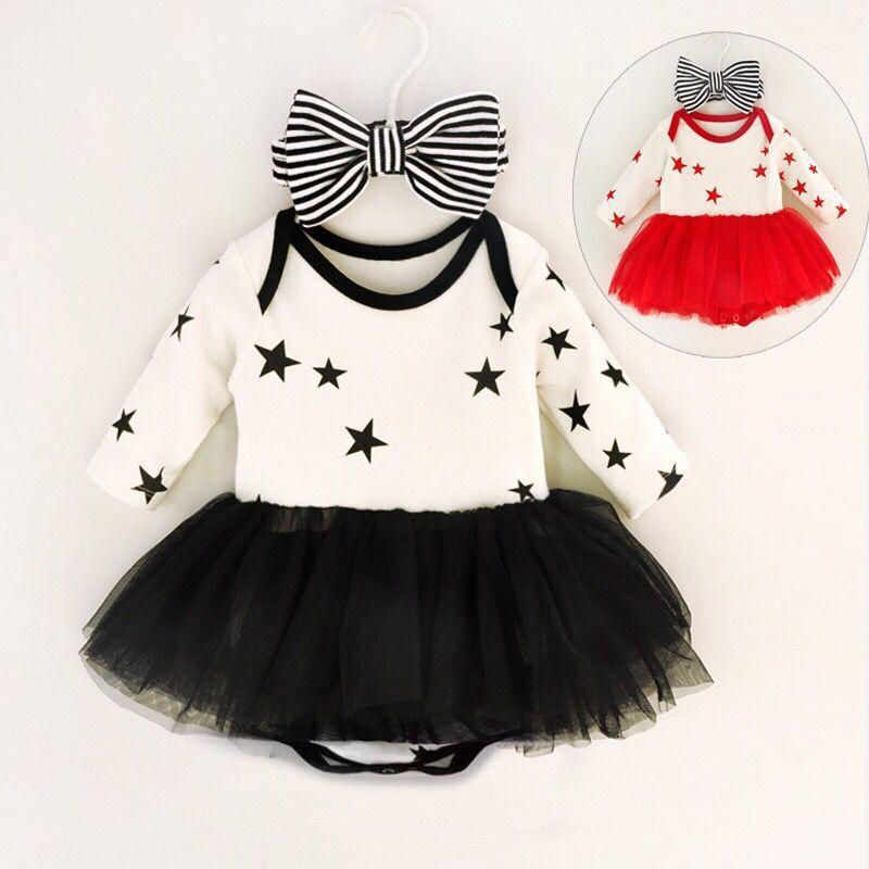 3M 6M 9M new Spring Baby Girl Romper stars Romper Clothing For Kids Girls  Children One Piece dress