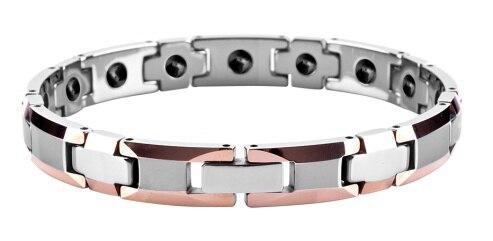 Femmes poli brillant carbure de tungstène biseauté plaqué or Rose avec Bracelets magnétiques Germanium/TUBR1003