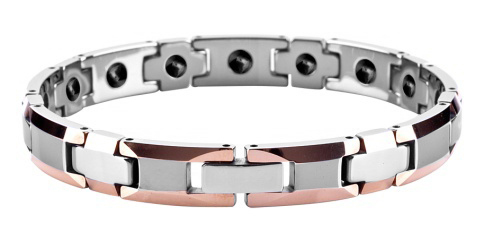 Women Polished Shiny Tungsten Carbide Beveled Rose Gold Plating with Germanium Magnetic Bracelets /TUBR1003