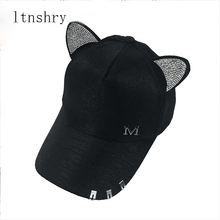 0cd0e8ca8a3 New meow Women s Summer fall black white Pink hat Cat ears Cat Baseball cap  with rings