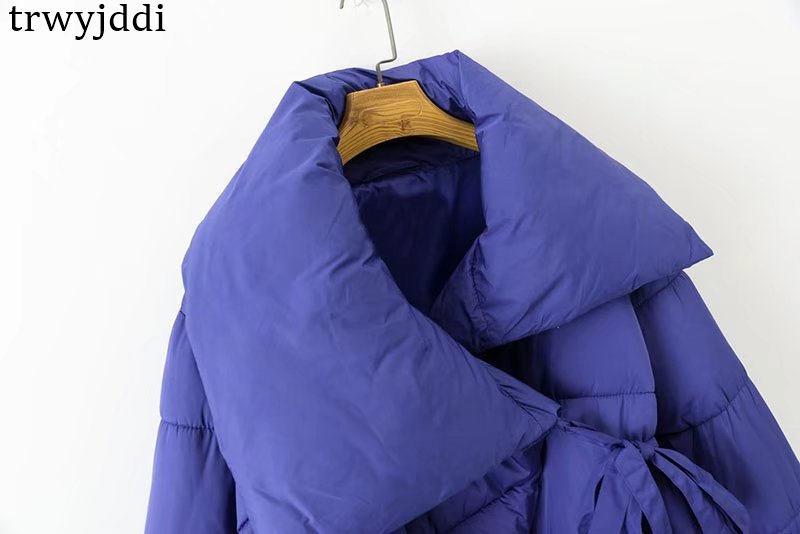 Manteaux Longues Bas Coton Nouveau Grand Blue Femmes Filles 2018 Unie Mode Veste N124 À Revers Manches Arc Survêtement Lâche Vers Le D'hiver De Couleur 54LARj