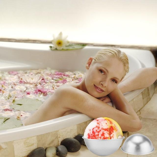 6pcs/pack Bath Bombs Metal Aluminum Alloy Bath Bomb Mold 3D Ball Sphere Shape DIY Bathing Tool Accessories Creative Mold 5