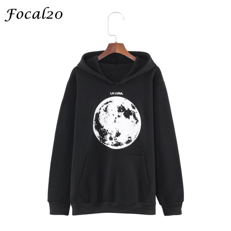 Hoodies & Sweatshirts Focal20 Harajuku Luna Moon Print Women Fleeces Hoodies Autumn Winter Oversize Hooded Velvet Sweatshirt Pullover Streetwear To Be Distributed All Over The World