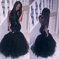 Sparkly Black Girls Mermaid African Prom Dresses Long 2017 Halter Neck Sequins Tulle Sexy Corset Formal Dress Cheap Party Gowns