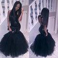 Sparkly preto meninas sereia africano vestidos de baile longos 2017 halter neck lantejoulas tulle sexy corset dress partido barato vestidos formais