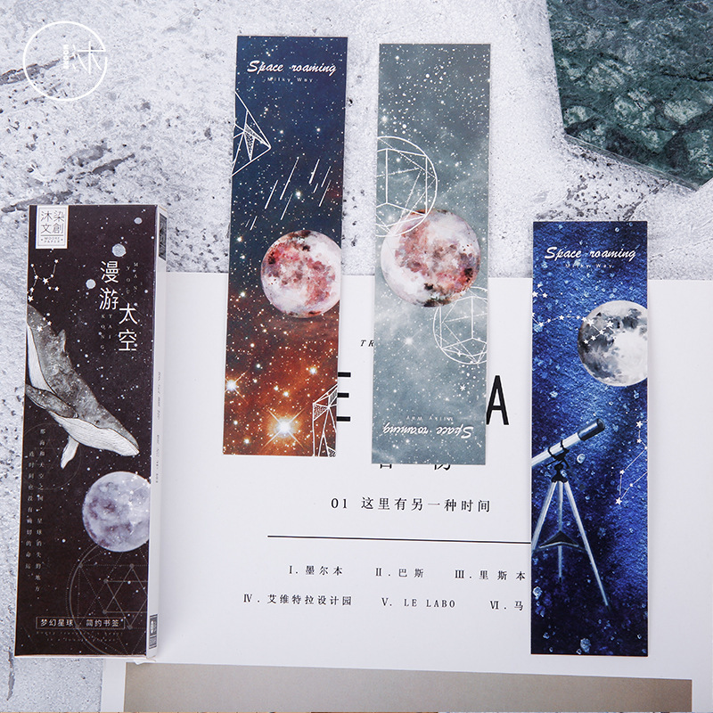 30 Pcs/box Roaming Space Paper Bookmark Cartoon Bookmark Promotional Gift Stationery Film Bookmark Message Card