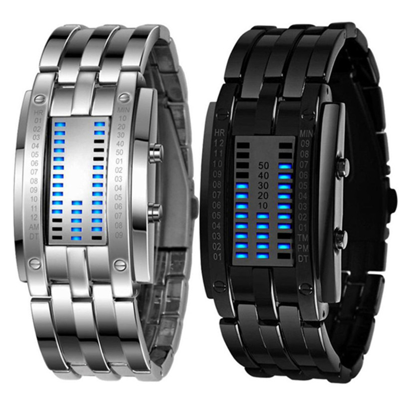 Digital Watches Watches New Men Watches Fashion Binary Led Digital Watch Men Sports Watches Stainless Steel Mesh Band Electronic Watches Reloj Hombre