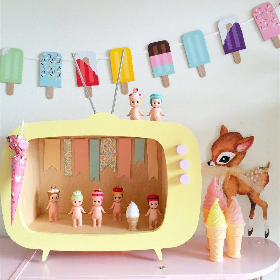 INS chaud en bois TV boîte TV cadre décoration pour enfants bébé garçons filles chambre décor Miniature ornements photographie accessoires de noël cadeau