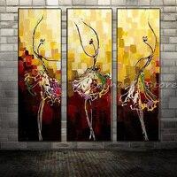 Ręcznie Malowane Trzy Panles Streszczenie Dancer Płótno Baleriny Malarstwo Ścienne Obraz Salon Home Decoration Nie Oprawione