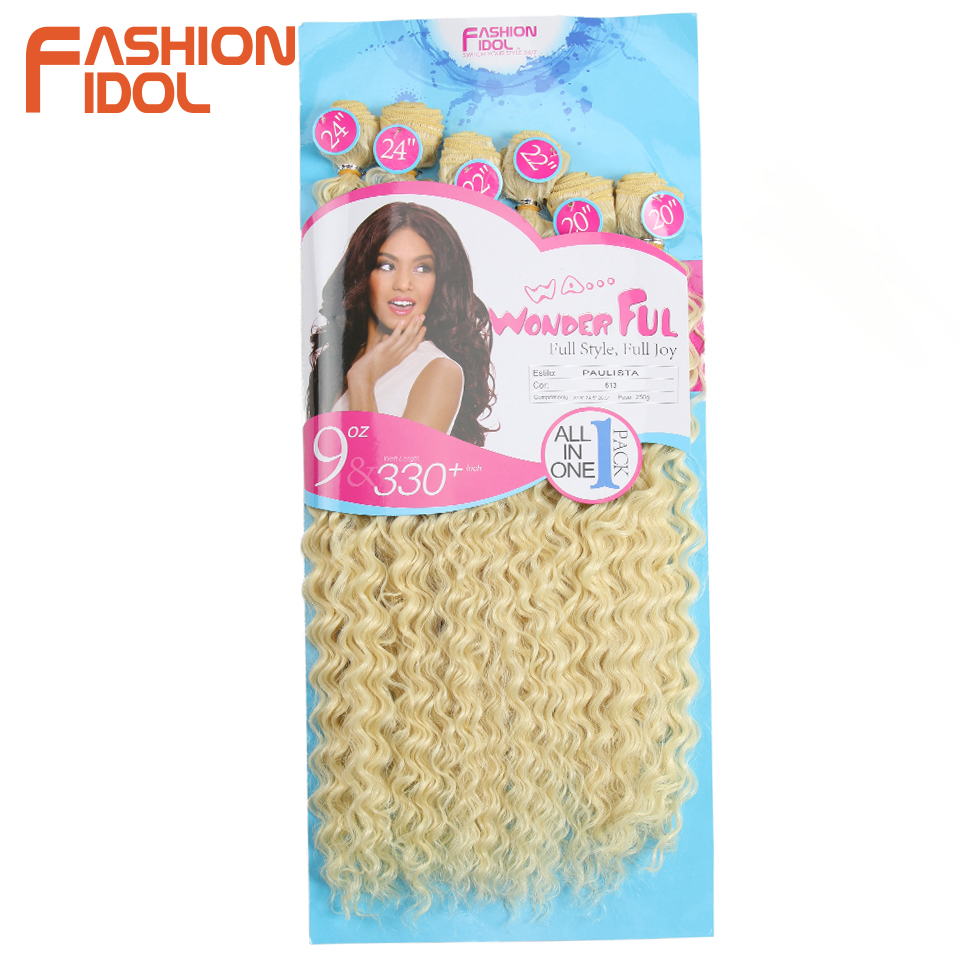 FASHION IDOL Afro Kinky Curly Hair Weave Bundles 613 Blonde Color Synthetic Hair Extensions Nature Color 6 PC 20 22 24 inch Hair(China)
