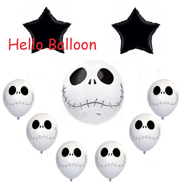 new 9pcslot jack skellington latex balloon nightmare before christmas decoration halloween balloon birthday balloon - Jack Skeleton Christmas Decorations