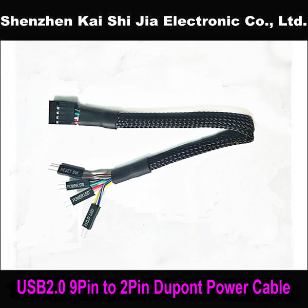 US $1 88 |Black Sleeved USB 2 0 9Pin to 2Pin HDD LED Power LED Reset SW  Power SW Dupont Power Cable for Asus motherboard-in Computer Cables &