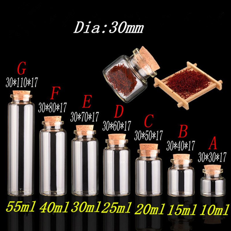 Image 2 - Mini Bottle with Cork Stopper 10ml 15ml 20ml 25ml 30ml 40ml 55ml Empty Bottles Containers Jars Vial idea for Wedding Gift 50pcs-in Bottles, Jars & Boxes from Home & Garden