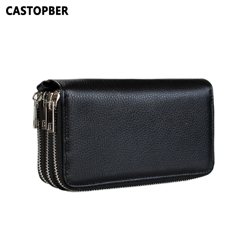 Multifunctional 3 Zipper Phone Bag Men Clutch Bags Cow Genuine Leather For Man Purse High Quality