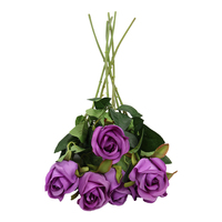 6 parts artificial flowers of rose - purple