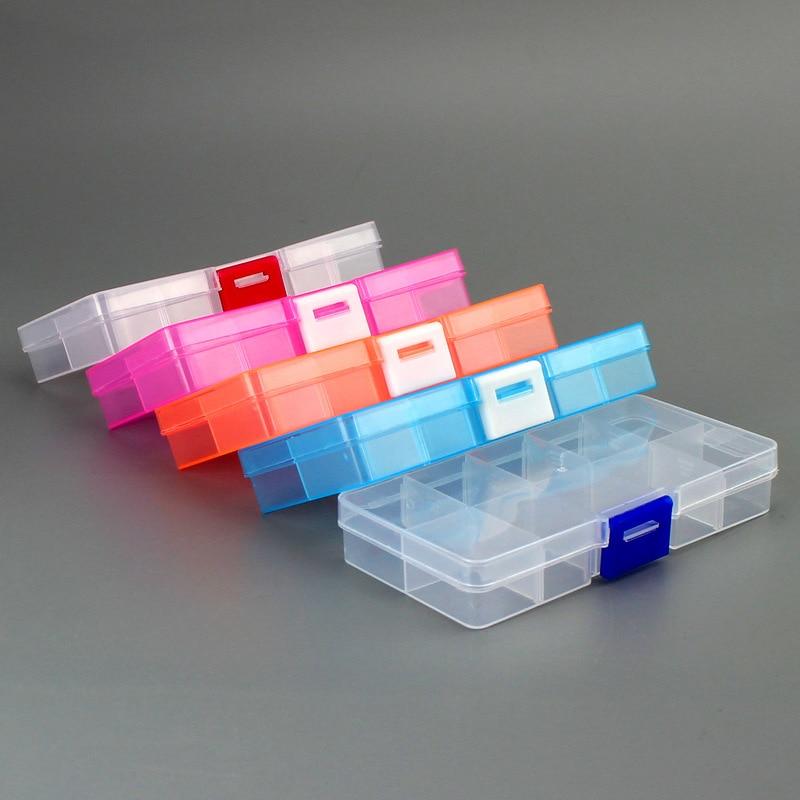 Новый 10 Слоты ячеек красочные Портативный Jewelry ящик для хранения инструмента контейнер кольцо электронный запчасти, винты органайзер для б...