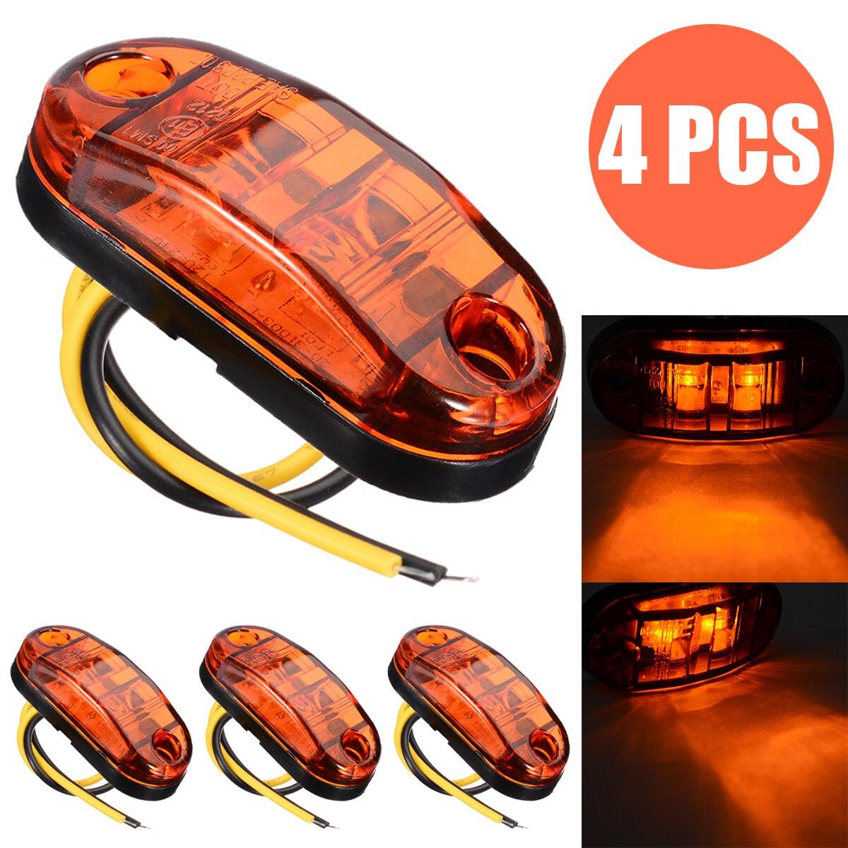 4pcs/set 12V/24V 2LED Amber Side Marker Light For Car Trailer Truck Waterproof Indicator