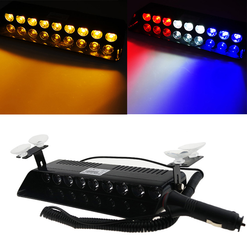 1pcs 9W LED Windshield Warning Light Car Flashing Strobe Beacons Police Lights Truck Emergency Signal Lamp Viper 1 pcs car 12v 3 amber led flashing lights bar strobes warning recovery breakdown car truck lamp