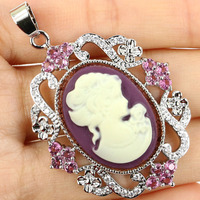 Fabulous Long Big Cameo Greek Goddess, Pink Tourmaline Woman's Valentine's Day Silver Pendant 50x33mm