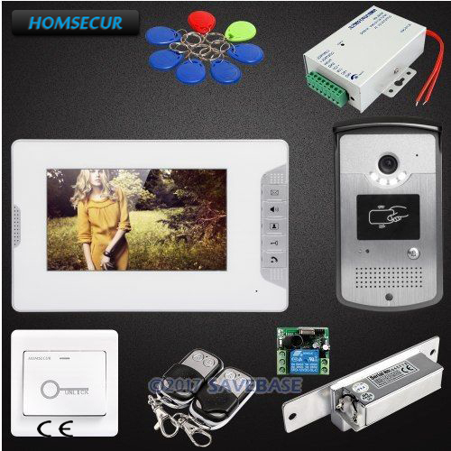HOMSECUR 7inch Video Door Intercom System with Keyfobs Unlocking Camera for Home Security etiger xsl v43d11 id 4 3inch home security video door phone rf id unlocking work with electronic door intercom system