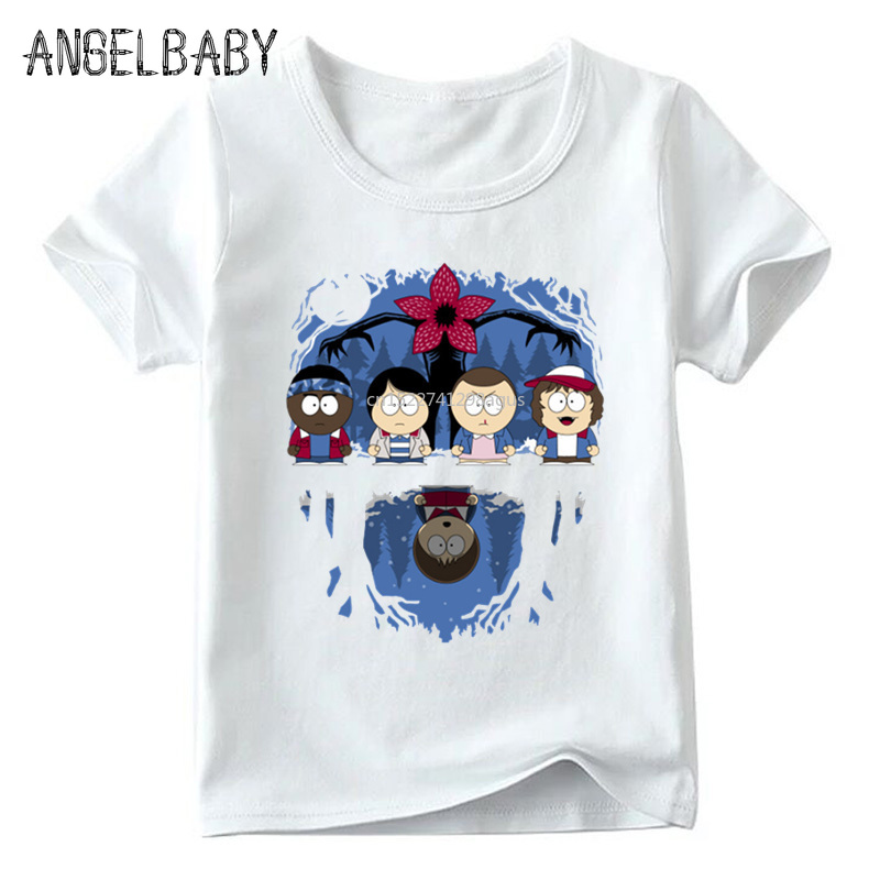 Children Cartoon Stranger Things South Park Print Funny T shirt Boys and Girls Summer Tops Kid Soft White T-shirt,ooo5062 image