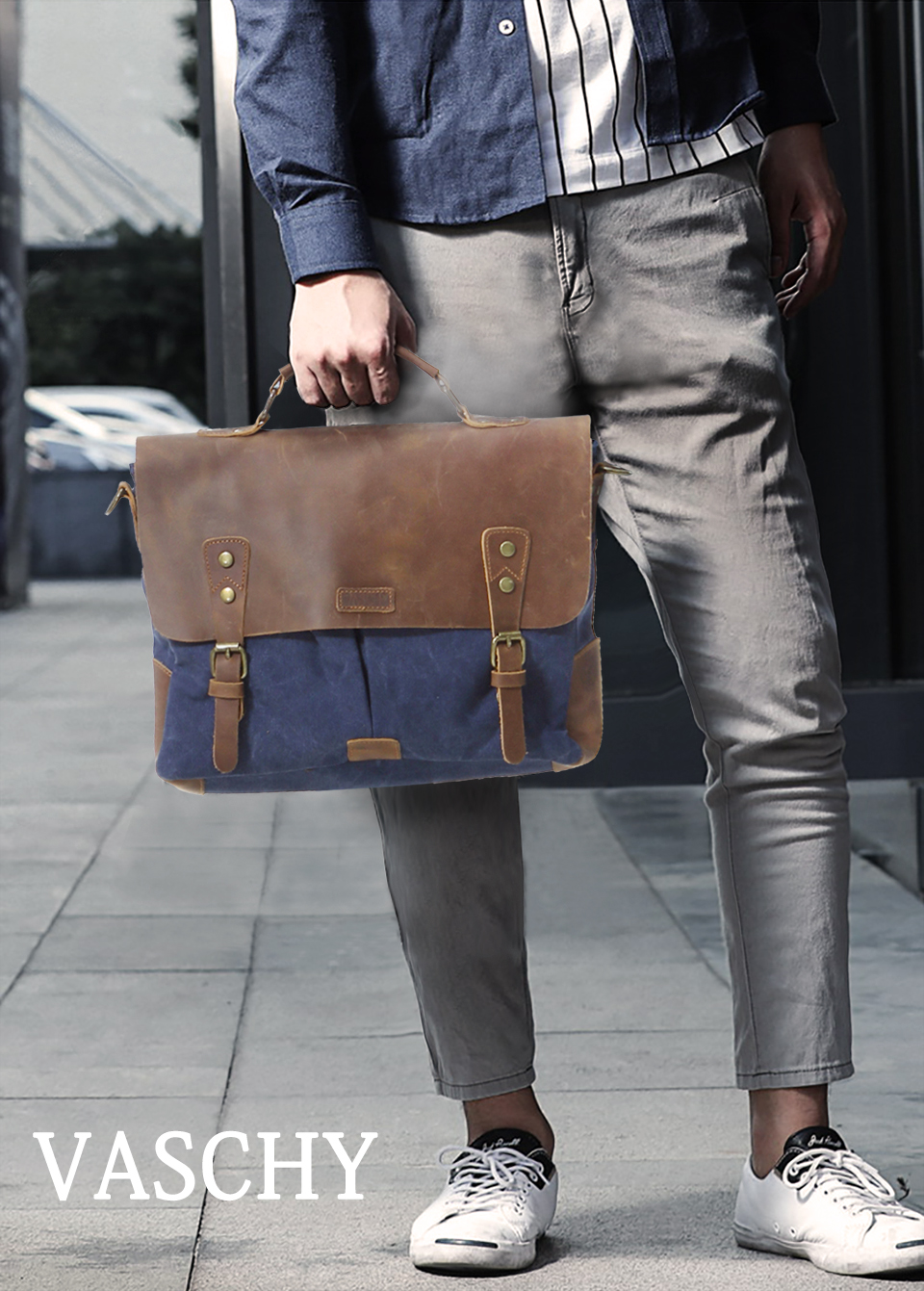 HTB12N 3XzzuK1Rjy0Fpq6yEpFXaI VASCHY Messenger Bag Men Leather Genuine Leather Canvas 14inch Laptop Briefcase Crossbody Satchel Bag for Men