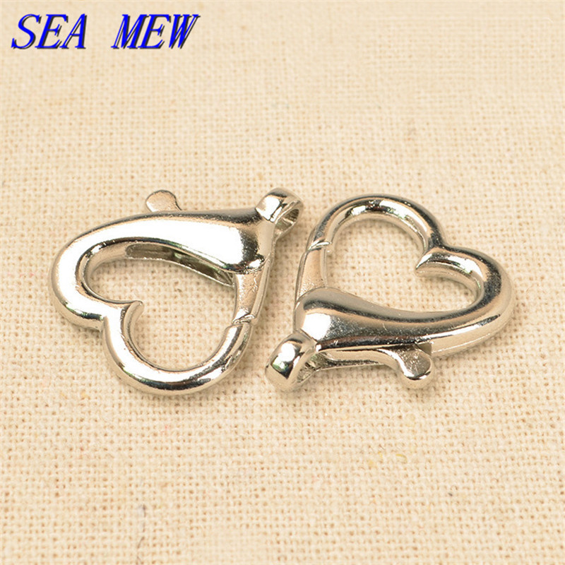 SEA MEW 22mm*26mm Fashion Metal Copper Heart Shaped Lobster Clasp Rhodium Color Hooks DIY Jewelry Components