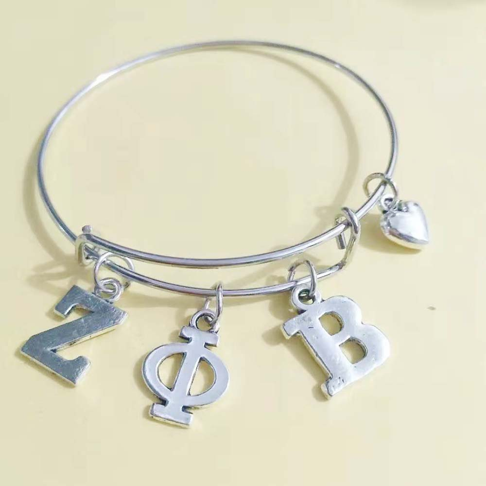 Topvekso ZPB Sorority   ZETA PHI BETA Letter Charms Love Bangle Jewelry Wire Bracelet Silver Tone As Gifts
