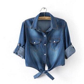 Casual Cropped sleeves Shirt female Denim Shirts women's Fashion Short Blouse Girls Top