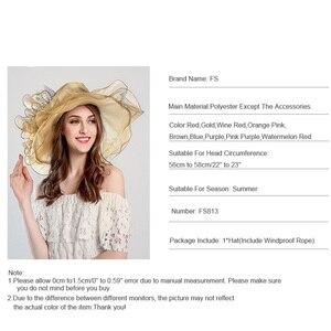 Image 5 - Fashion Summer Organza Kentucky Derby Hats For Women Elegant Laides Church Wedding Wide Large Brim With Big Flower Hat