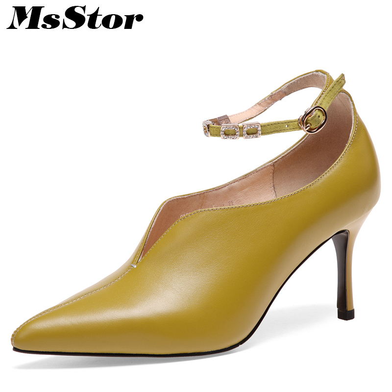 MsStor Pointed Toe High Heel Boots Shoes Woman Casual Fashion Metal Buckle Ankle Boots Women Shoes Genuine Leather Women Boots