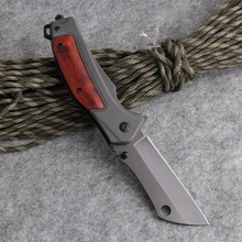 Cuchillo plegable de bolsillo táctico de combate EDC rescate cuchillos caza Camping Multi herramientas aluminio + mango de madera 440C hoja