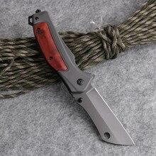 접이식 칼 전술 전투 포켓 유틸리티 edc 구조 칼 사냥 캠핑 멀티 도구 알루미늄 + 목재 손잡이 440c 블레이드