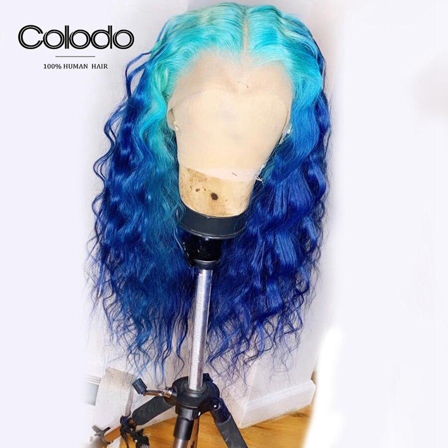 COLODO brésilien Remy 13x4 dentelle frontale perruques Ombre couleur eau vague bleu cheveux humains perruque pré plumé sans colle Bob perruque pour les femmes