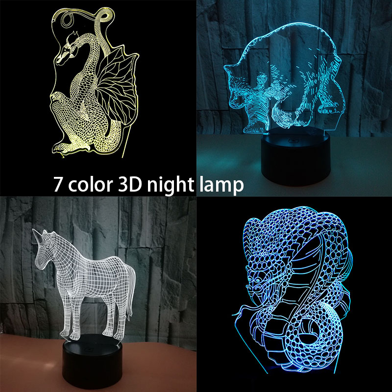 Creative 3D Dragon Unicorn Visual Desk Lamp LED 7 Color Changing Baby Sleeping Night Light Christmas Decor Cartoon Light Gift color changing dolphin shape 3d visual led night light