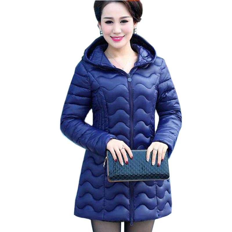 New Autumn Winter Cotton Coat Women Middle Age Slim Medium Long Padded Jacket Hooded Outerwear Mother Coat Plus Size 5XL QH0396 xl 5xl winter coat women plus size middle aged mother cotton padded clothes casual hooded solid long sleeve parka thick a4263
