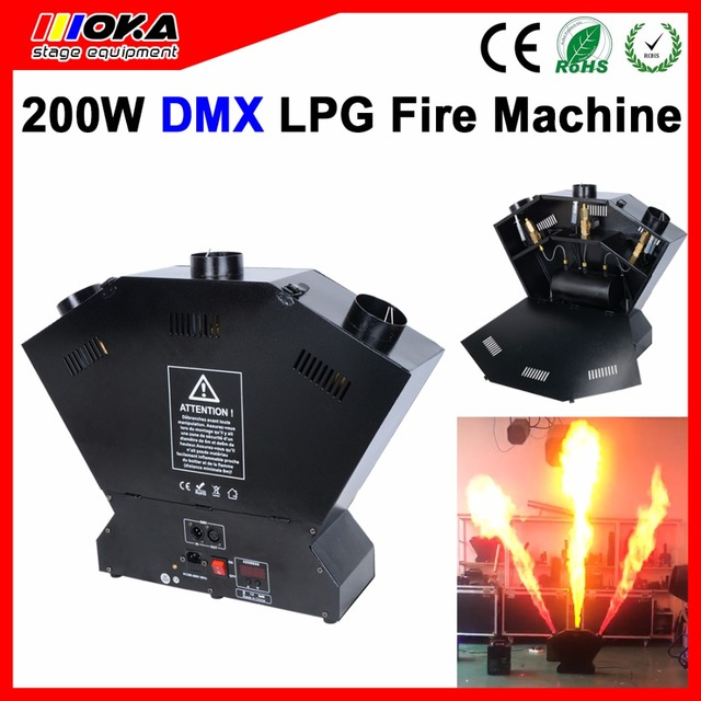 Stage fire machine 3 heads lpg Flame machine 200W Spray Fire Machine Dmx Flame Projectors 3m height for Stage Lighting Effect