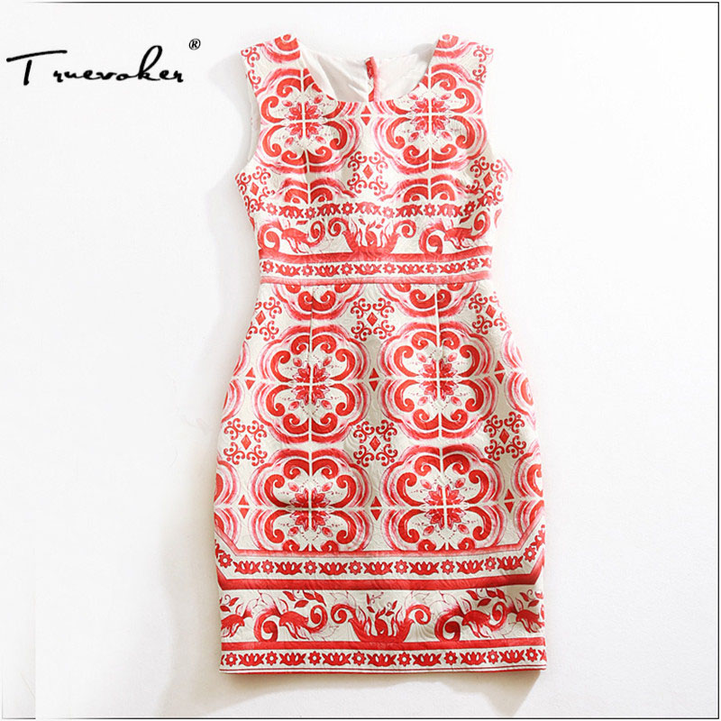 Truevoker Designer Dress Women High Quality Sleeveless Vintage Red Porcelain Printed Jacquard Plus Size XXL Pencil Dresses