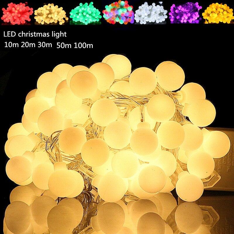 20X LED Bulb String Light 10M/20M/30M/50M String Light Holiday Decoration Lamp Festival Christmas Lights Outdoor Lighting