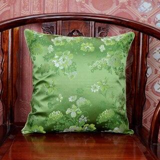 Ручной работы с цветочным принтом китайский стул подушка для дивана в этническом стиле Подушка под поясницу декоративные наволочки шелк атласная наволочка 45x45 см - Цвет: Зеленый
